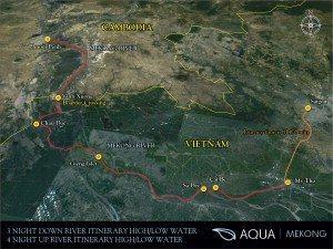 AQUA MEKONG - 3 and 4 night Downriver and upr river map - High a